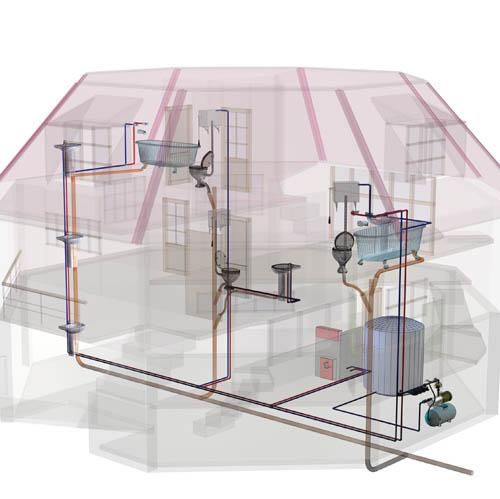 La fontanería de una vivienda incluye la Red de Agua, la Red de Drenaje de Aguas Residuales y la Red de Gas.
